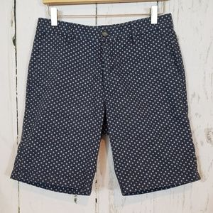 Topman Navy printed button fly mens shorts
